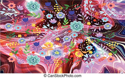 abstract roses and flowers on liquid background