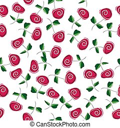 Abstract roses on a white background.