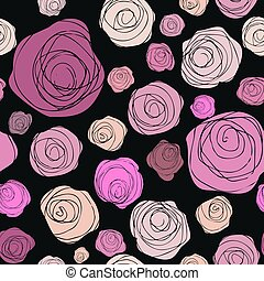 Abstract roses seamless pattern on black