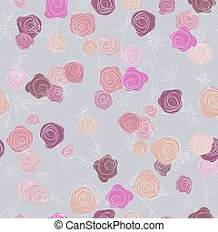Abstract roses seamless pattern on white