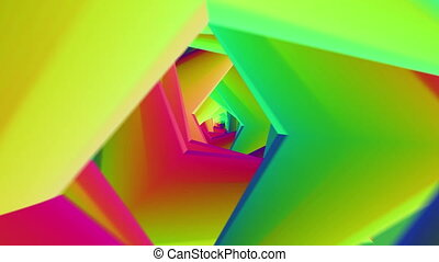 Abstract rotating and multicolored tunnel