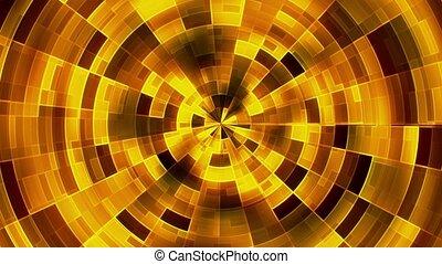 Abstract rotating circles in yellow