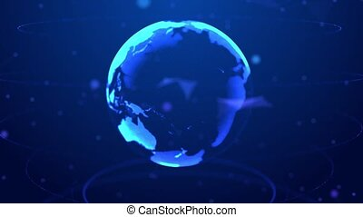 Abstract Rotating Digital World HUD Globe from Particles Loop 4k Animation Alpha Mask.