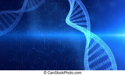 Abstract rotating DNA double helix 3D animation on dark blue Seamless loopable background. Hologram glowing DNA. Science and medicine concepts. DNA double helix, medical background