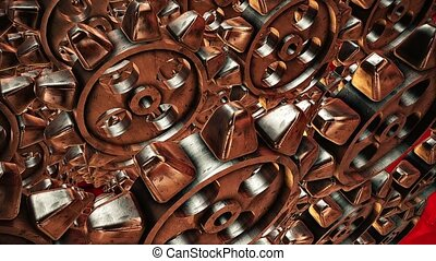 Abstract rotating gears in bronze