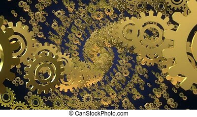 Abstract rotating gears in golden