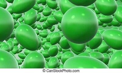 Abstract rotating green eggs