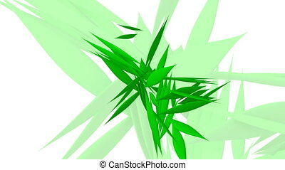 Abstract rotating green leafs