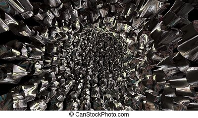 Abstract rotating metallic tunnel