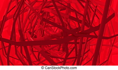 Abstract rotating red lines