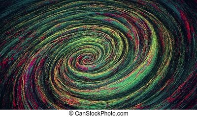 Abstract rotating spiral in red, blue