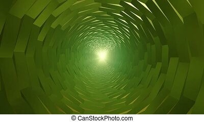 Abstract rotating tunnel in green