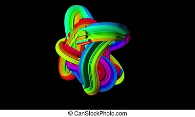Abstract rotating wave colourful wad. Black background