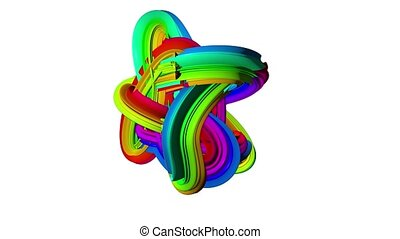 Abstract rotating wave multicolored clot 3d animation. White background