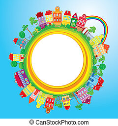 Abstract round banner with small fairy colorful town on ...