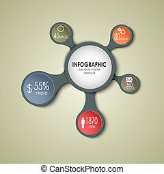 Abstract round business info graphic template vector eps 10