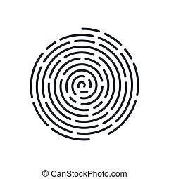 Fingerprint - Abstract Round Fingerprint Icon Detailed for...