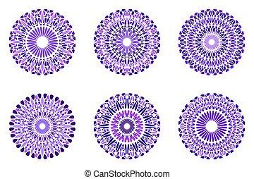 Abstract round geometrical stone mandala symbol set