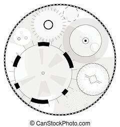 Abstract round high-tech mandala with circles. Space Time...