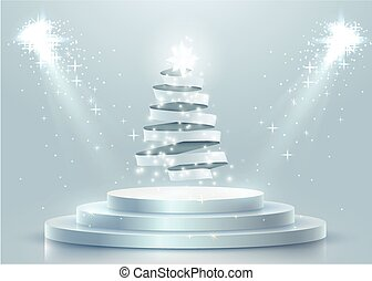 Abstract round podium with Christmas tree made of ribbon illuminated with spotlight. Christmas banner.