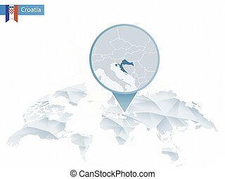 Abstract rounded World Map with pinned detailed Croatia map...