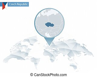Abstract rounded World Map with pinned detailed Czech Republic map.