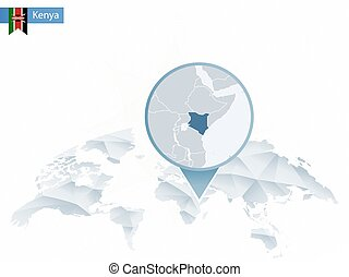Abstract rounded World Map with pinned detailed Kenya map.