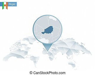 Abstract rounded World Map with pinned detailed Niger map....