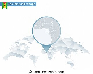 Abstract rounded World Map with pinned detailed Sao Tome and Principe map.