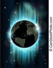 abstract, ruimte, globe, wereld, backgrou