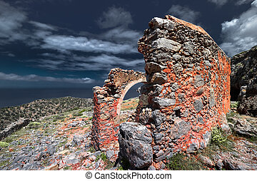 Abstract ruins of abandoned old temple Crete island. Greece