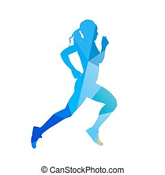Abstract running woman silhouette. Blue vector runner. Profile, side view