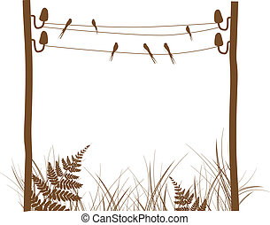 Abstract Rural Design Frame With Swallows and Grass