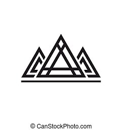 Abstract sacred geometry triangles logo sign isolated on...