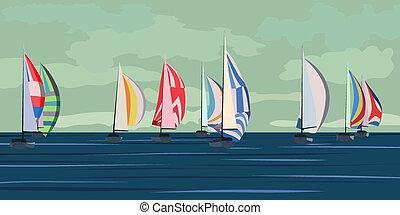 Abstract sailing yacht regatta.