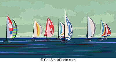 Abstract sailing yacht regatta.