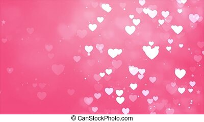 Abstract saint valentines day Pink background. Computer generated seamless loop video frame with flying hearts. Christmas Winter Background. Floating White Dust Particles 4k Seamless loop frame.
