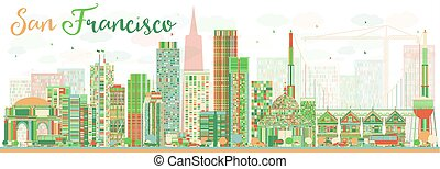 Abstract San Francisco Skyline with Color Buildings.