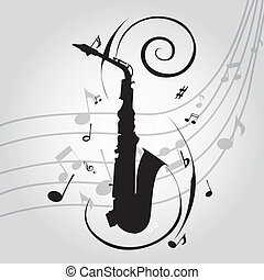 abstract saxophone silhouette on special music background