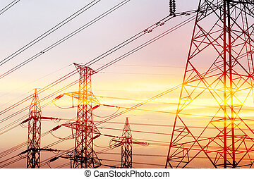 Abstract scene of silhouette electric pylon