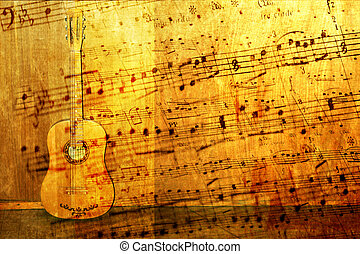 abstract scene of the acoustic guitar as music background