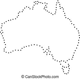 Abstract schematic map of Australia from the black dots along the perimeter of vector illustration