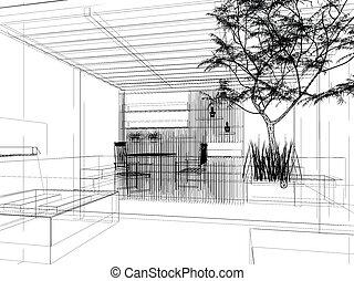 abstract, schets, ontwerp, van, terras
