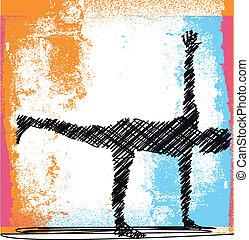 abstract, schets, van, peinzende vrouw, en, doen, yoga.,...