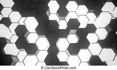 Abstract Sci-Fi Honeycomb Grid. Seamless Looping.