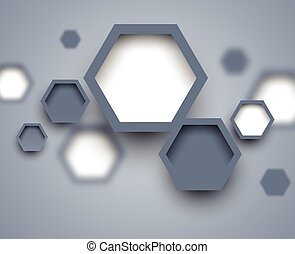 Abstract science gray background with blur hexagons