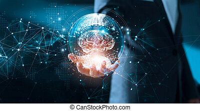 Abstract science. Network and innovation. Businessman holding brain in circle global network connection communication and data exchanges worldwide on modern interface background. Networking and technology concept