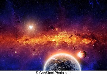 Abstract scientific background - exploding planet and planet...