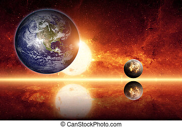 Abstract scientific background - planet earth, big sun, ...
