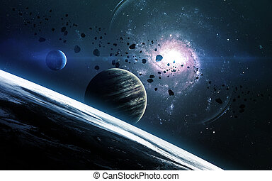 Abstract scientific background - planets in space, nebula ...